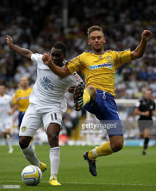 Lloyd Sam of Leeds United in action with James Bailey of Derby County during the npower Championship match between Leeds United and Derby County at...