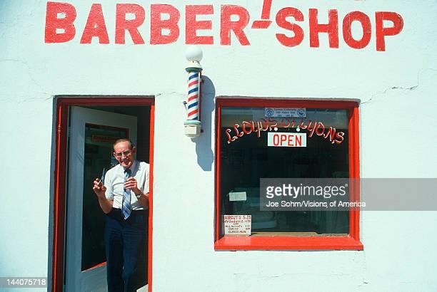 Lloyd the Barber at his shop Lyons CO