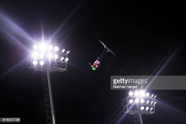 Lloyd Wallace of Great Britain competes during the Freestyle Skiing Men's Aerials Qualification on day eight of the PyeongChang 2018 Winter Olympic...