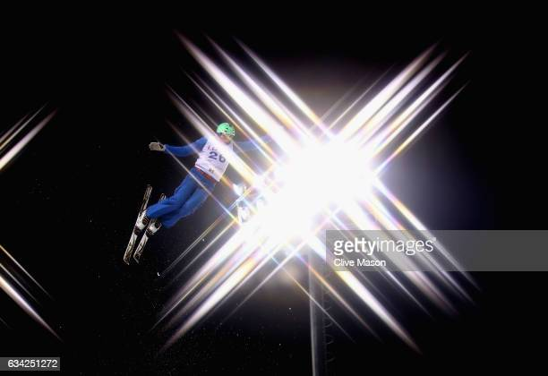 Lloyd Wallace of Great Britain in action during mens aerials traing prior to the FIS Freestyle World Cup at Bokwang Snow Park on February 8 2017 in...