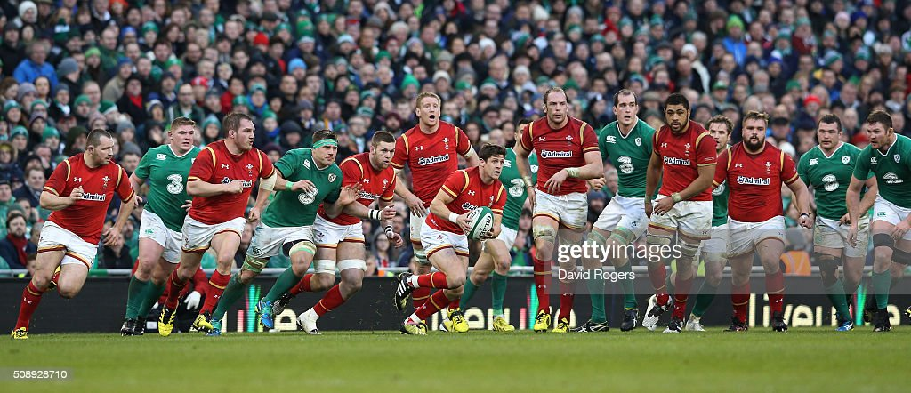 Lloyd Williams of Wales makes a break during the RBS Six Nations match between Ireland and Wales at the Aviva Stadium on February 7, 2016 in Dublin, Ireland.