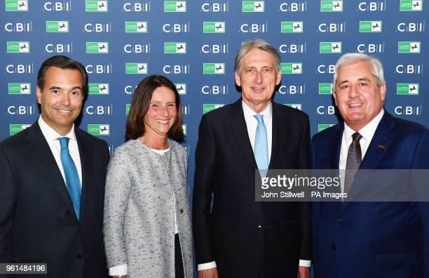 Lloyds Banking Group CEO Antonio HortaOsorio Director General of the CBI Carolyn Fairbairn Chancellor Philip Hammond and President of the CBI Paul...