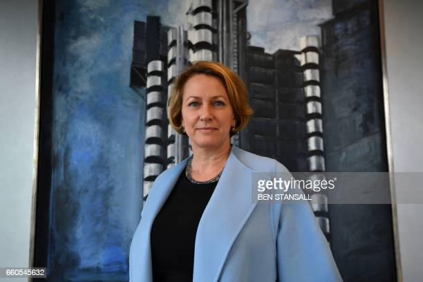 Lloyds of London Chief Executive Officer Inga Beale poses for a photograph in her office in the City of London on March 30 following an interview...