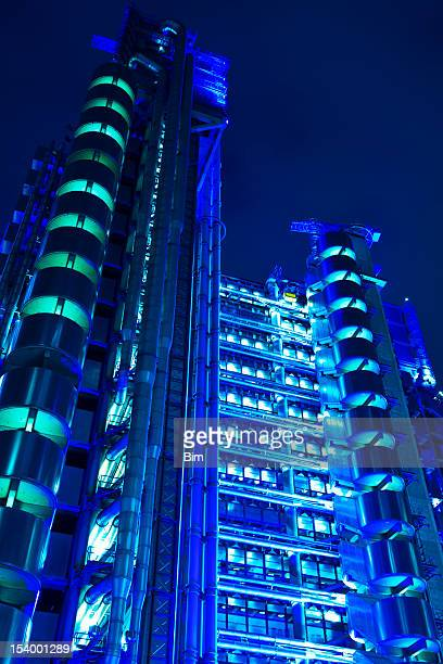 Lloyd's of London, Futuristic Office Tower at Night