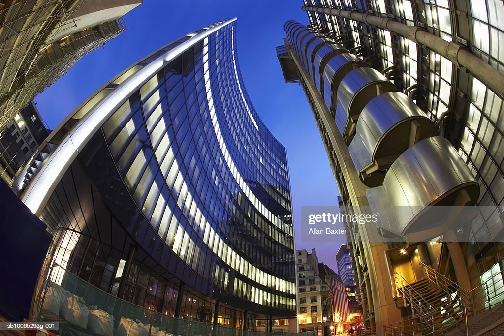 Lloyds tower, low angle view (fish-eye lens) : Foto stock