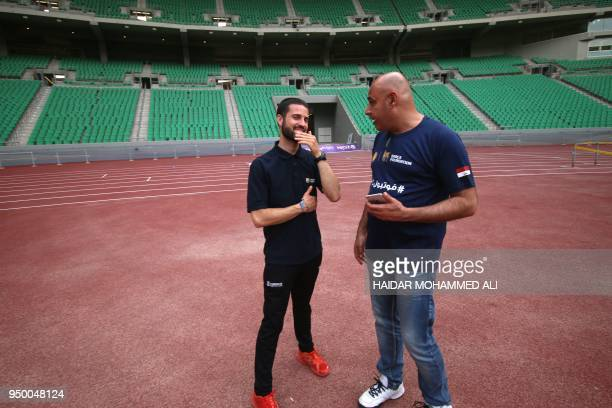 Lluc Sau the FutbolNet coordinator in Catalonia talks with Iraqi sport teacher during a workshop organised by FutbolNet which is part of the Barca...