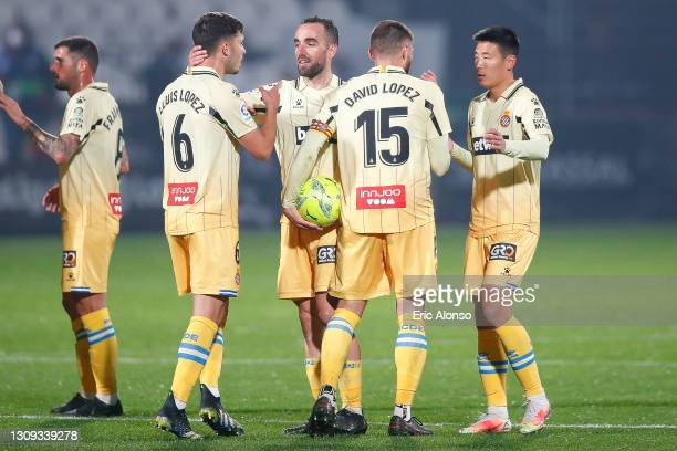 Lluis Lopez, David Lopez, Sergi Darder and Wu Lei of RCD Espanyol celebates the victory during the Liga Smartbank match betwen CD Castellon and RCD...