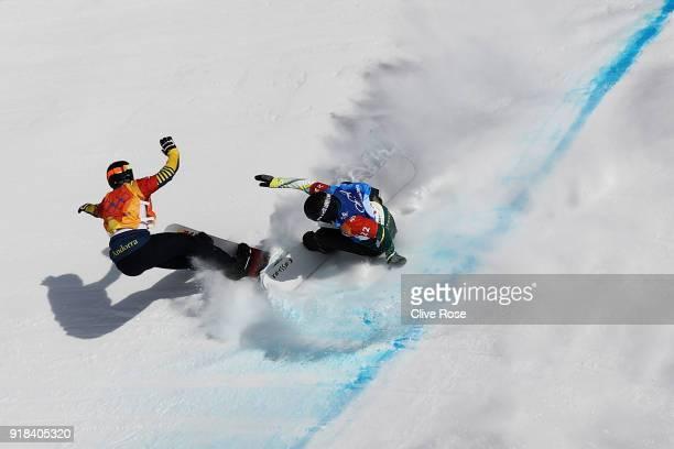 Lluis Marin Tarroch of Andorra and Adam Lambert of Australia collide during the Men's Snowboard Cross 1/8 Final on day six of the PyeongChang 2018...