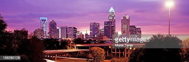 ?lluminated skyscrapers in a city - charlotte north carolina bildbanksfoton och bilder