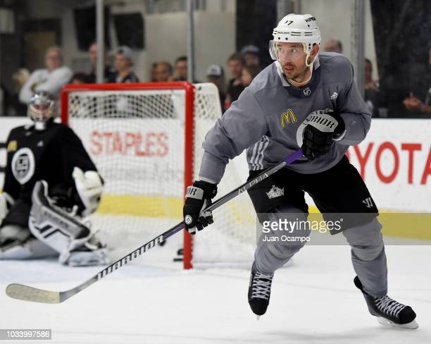 llya Kovalchuk of the Los Angeles Kings skates with the puck during a special Training Camp Fan Fest on September 15 2018 at Toyota Sports Center in...