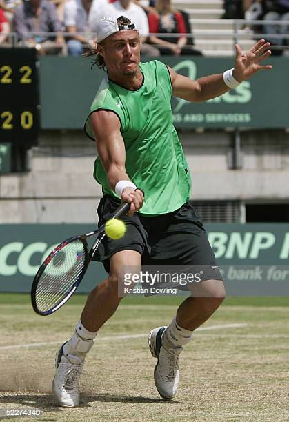 Llyeton Hewitt of Australia in action against Alexander Peya of Austria during the first rubber at the Davis Cup tie at the Sydney International...