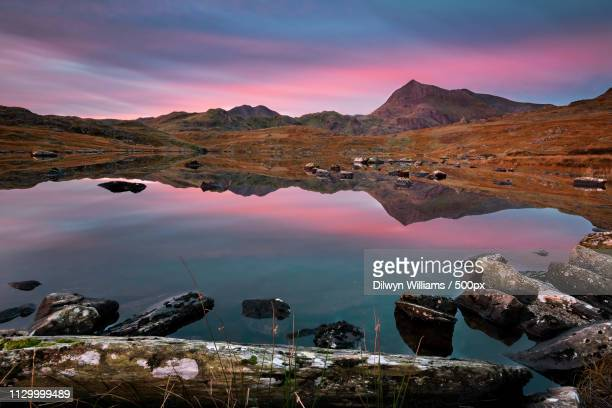 llyn cwmffynnon in autumn - goch stock photos and pictures