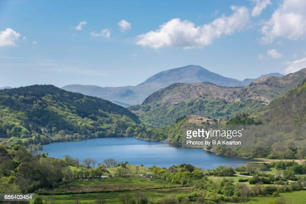 llyn gwynant, snowdonia national park, north wales - snowdonia stock photos and pictures