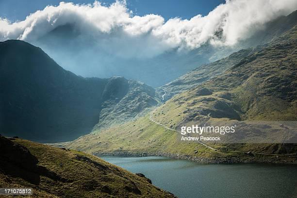Llyn Llydaw and the summit of Mt Snowdon in cloud