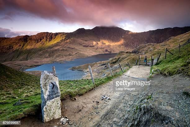 Llyn Llydaw viewed from the PYG Track and backed by the Peak of Y Lliwedd in Snowdonia Cwm Dyli Wales