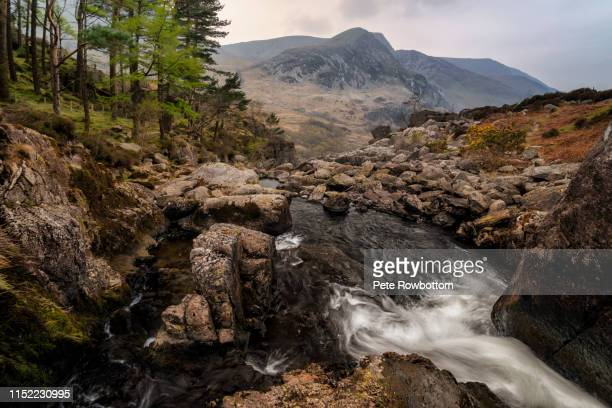 llyn ogwen falls - snowdonia stock photos and pictures