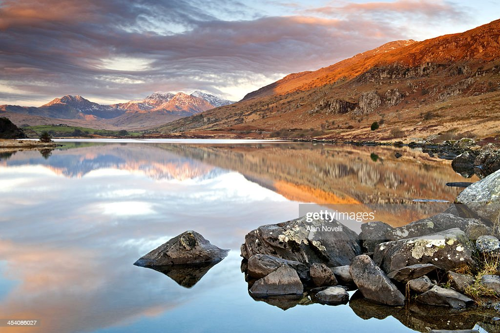 Llynnau Mymbyr, Mount Snowdon & Snowdon Massif : Stock Photo