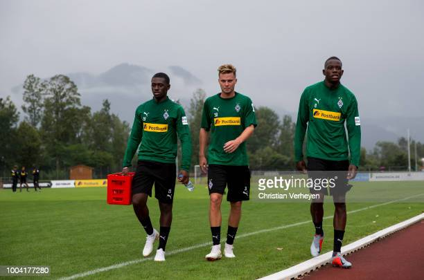 LMamadou Doucoure, Nico Elvedi and Denis Zakaria during a Training Session at Borussia Moenchengladbach Training Camp at Stadion am Birkenmoos on...