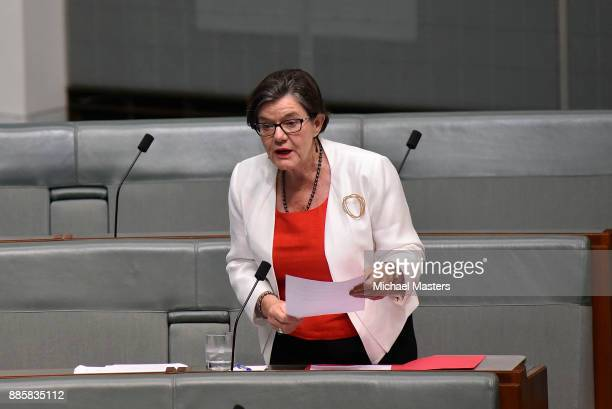 lndependent member of the House of Representatives Cathy McGowan asks a question of the Prime Minister during Question Time in House of...