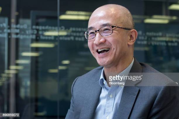 Lo Kai Shui founder of Sun Fook Kong Group Ltd reacts during an interview in Hong Kong China on Thursday July 20 2017 Sun Fook Kong Group is a real...