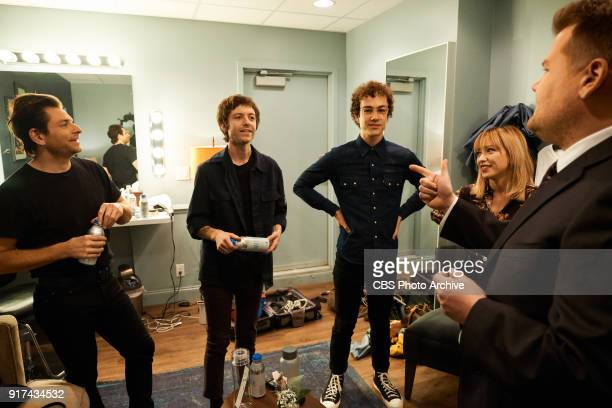 Lo Moon chats in the green room with James Corden during 'The Late Late Show with James Corden' Monday February 5 2018 On The CBS Television Network