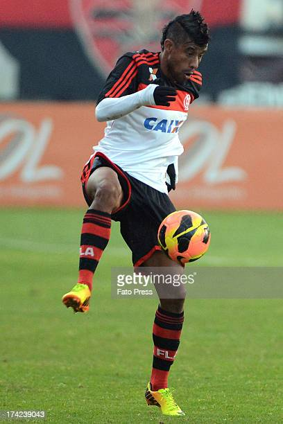 Léo Moura of Flamengo runs for the ball during the match between Flamengo and Internacional for the Brazilian Serie A 2013 on July 21 2013 in...
