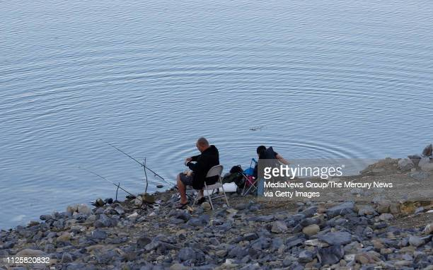 Lo Saechao, left, with his girlfriend's nephew Prince Vang fish at Fishermans Point at the San Luis Reservoir in Merced County, Calif., on Wednesday,...