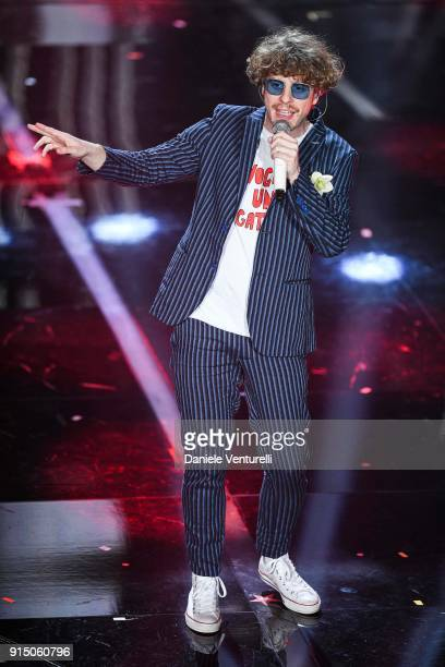 Lo Stato Sociale attend the first night of the 68 Sanremo Music Festival on February 6 2018 in Sanremo Italy