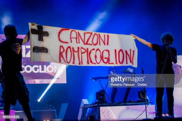 Lo Stato Sociale performs on stage on July 14 2018 in Rome Italy
