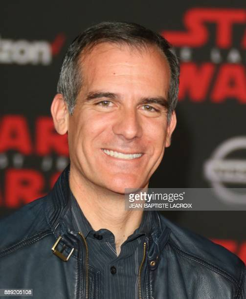 Loa Angeles Mayor Eric Garcetti arrives for the premiere of Disney Pictures and Lucasfilm's 'Star Wars The Last Jedi' at The Shrine Auditorium in Los...