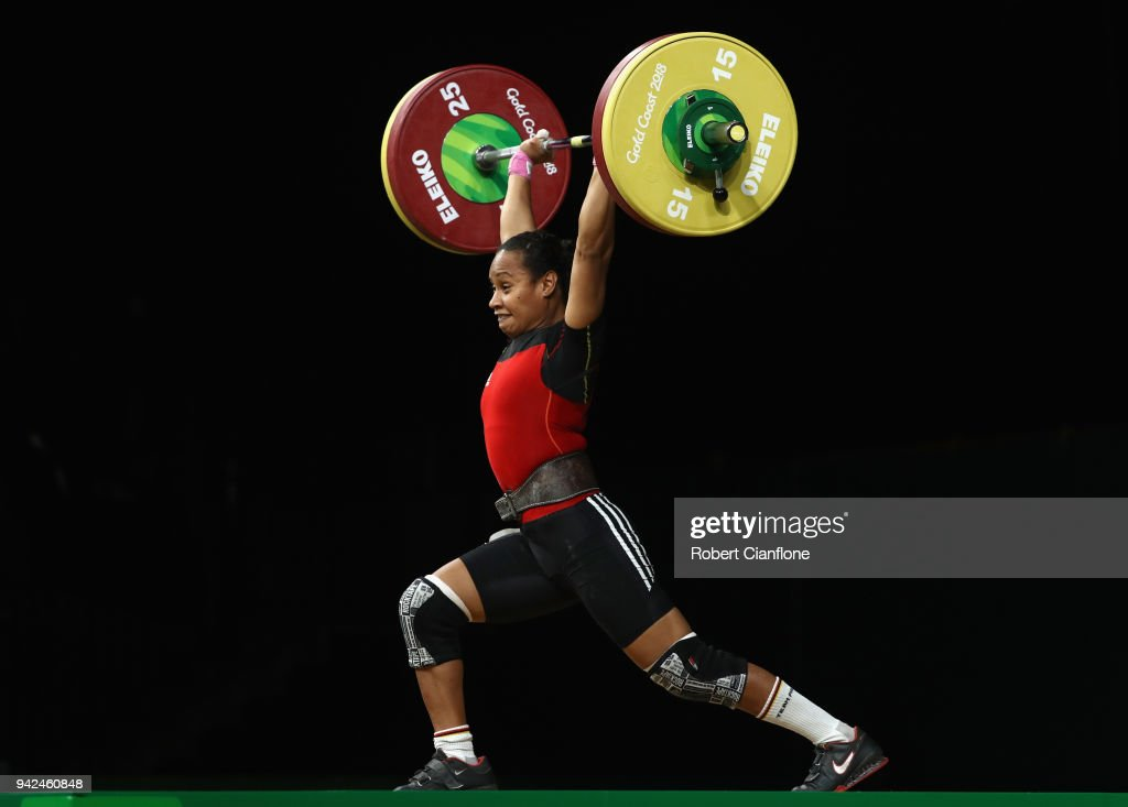 Loa Dika Toua of Papua New Guinea competes during the Women's 53kg weightlifting final on day two of the Gold Coast 2018 Commonwealth Games at Carrara Sports and Leisure Centre on April 6, 2018 on the Gold Coast, Australia.