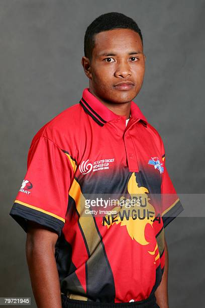 Loa Nou of Papua New Guinea poses during the ICC U/19 Cricket World Cup official team photo calls at the Sunway Hotel on February 12 2008 in Kuala...