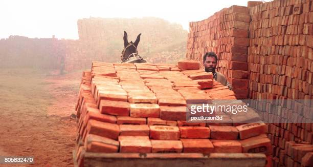 Loaded cart of bricks