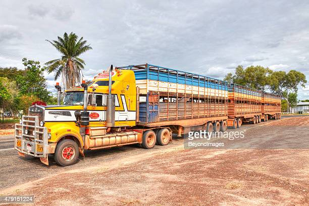 "Loaded cattle road train ""Cattle Coach"" in outback town"