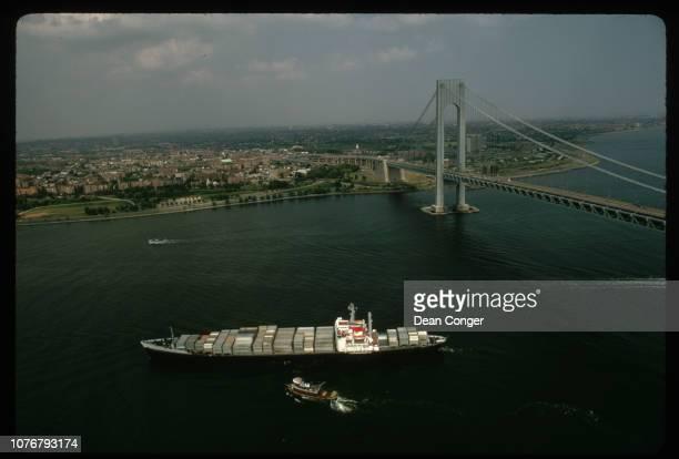 Loaded Freighter Passing the VerrazanoNarrows Bridge