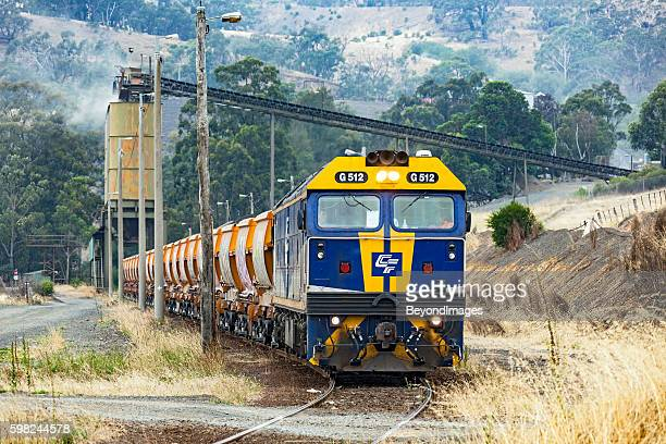 Loaded Hanson stone train waiting to depart Kilmore quarry
