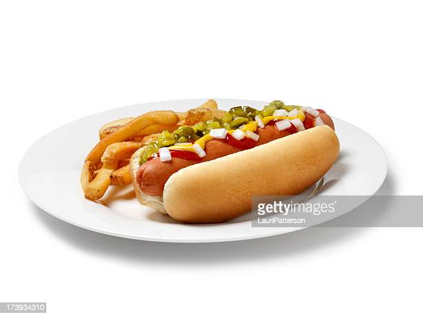 loaded hot dog with fries - hot dog stock pictures, royalty-free photos & images