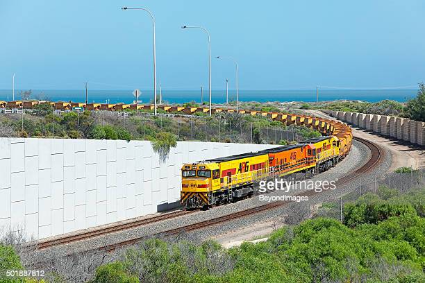 Loaded Mount Gibson iron ore train arrives at Geraldton Port