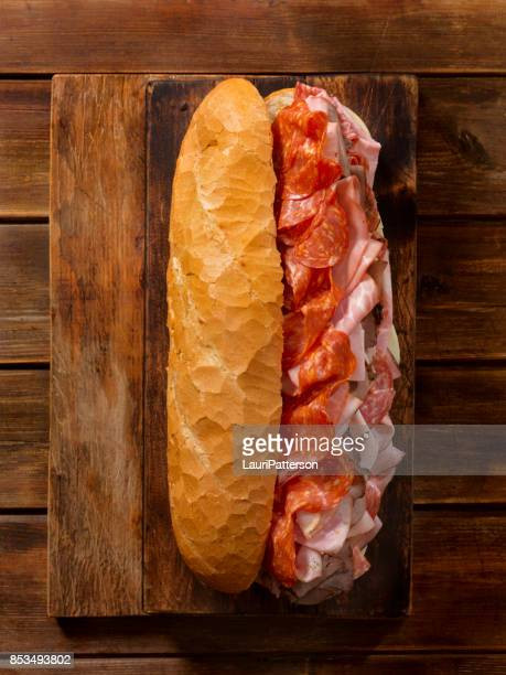 Loaded Party Sub Sandwich on a French Loaf