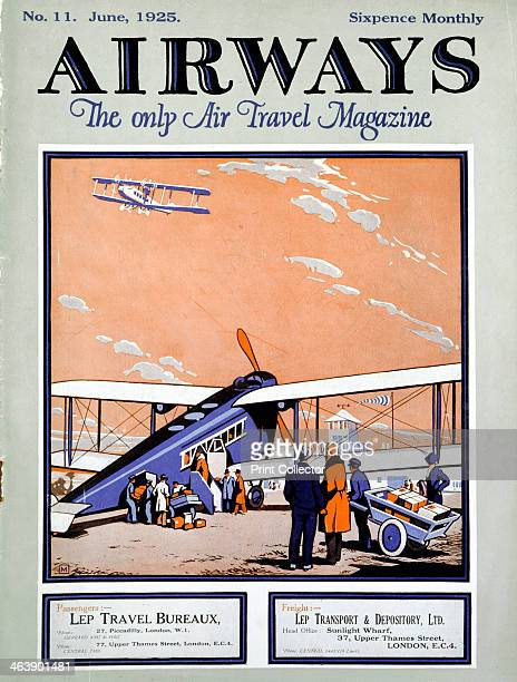 Loading a biplane with passengers and luggage at Croydon Aerodrome London Cover of Airways magazine London June 1925