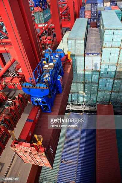 loading a container ship at container terminal