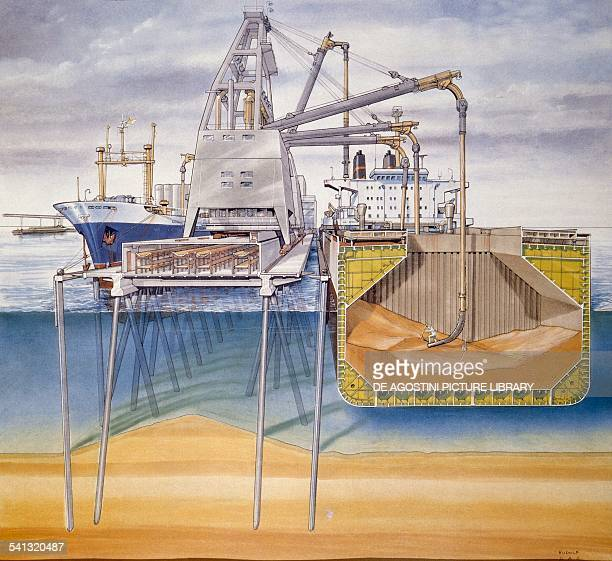 Loading and unloading of a cargo ship in a port equipped for the carriage of grain section drawing