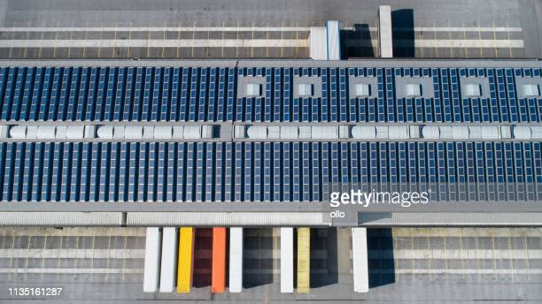Loading bay, industrial building, logistics - aerial view