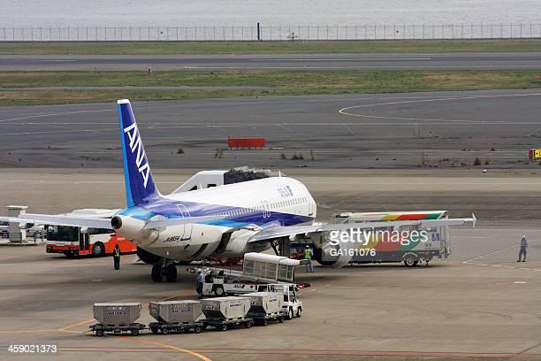 Carregar a carga para ANA Airbus um 320-200 Avião a jato