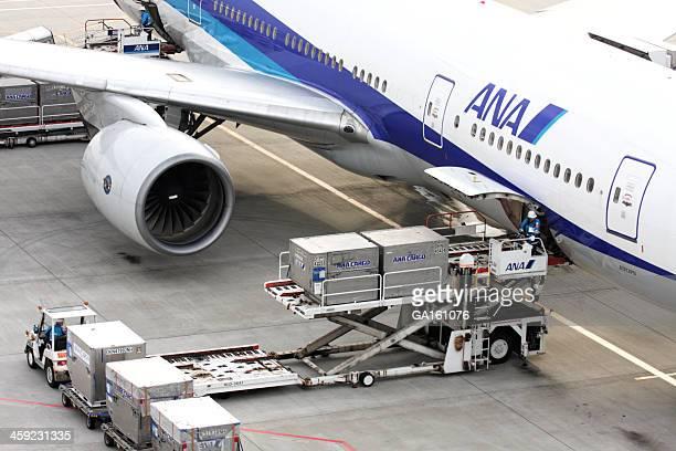 A carregar a carga para ANA avião no Aeroporto Haneda