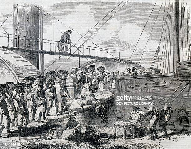 Loading coal in Morant Bay Jamaica 18th century