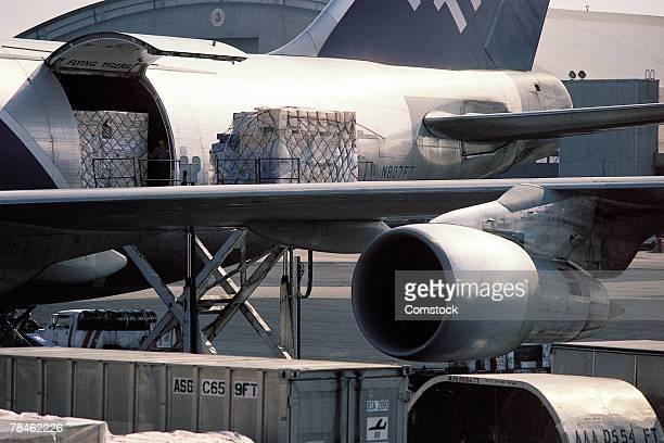 Loading freight onto airplane
