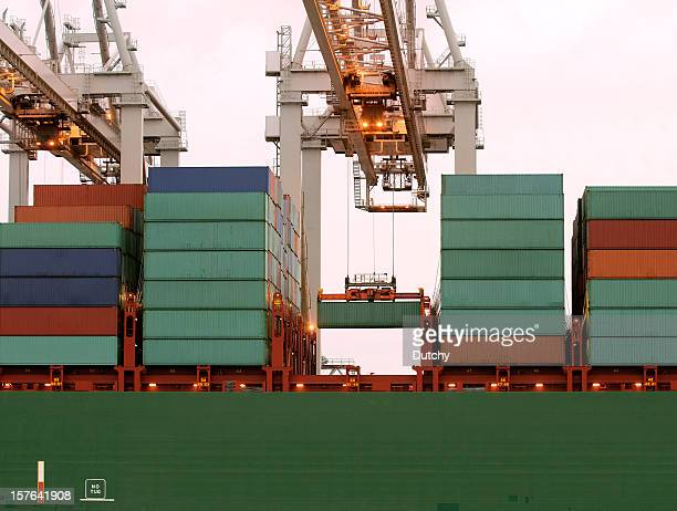 Loading of a large container ship in Rotterdam