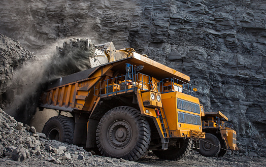 loading of coal in a quarry dumper front loader 901205926
