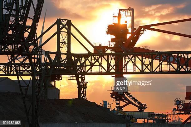 Loading-dock Cranes at Sunrise in Kawasaki, Japan